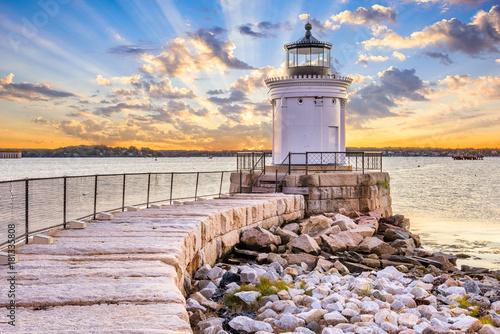 Montage in der Fensternische Leuchtturm South Portland, Maine, USA