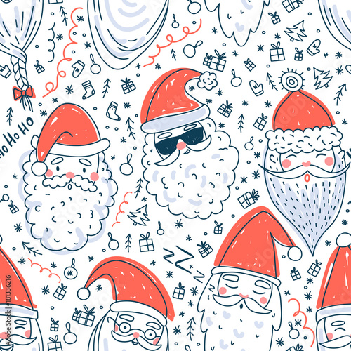 Cotton fabric Cute Santa Clauses vector seamless pattern
