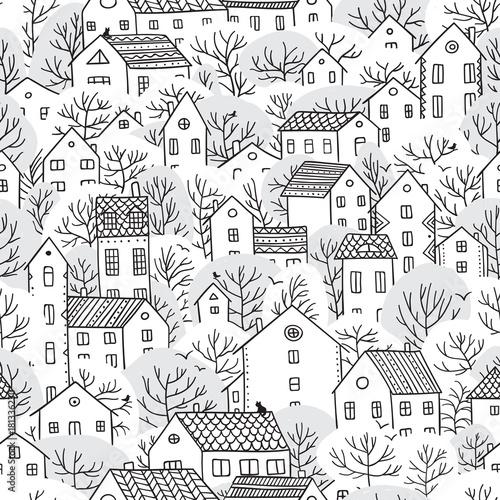 drzewa-i-domy-zimowy-wzor