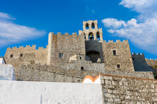 Architecture Of The Monastery Of Saint John The Theologian In Patmos Island, Dodecanese, Greece