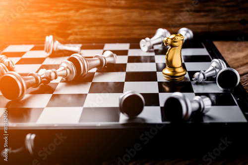 Fotografie, Obraz  winner ans looser in chess board game, concept of business ideas and competition