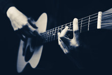 Male Musician Hands Playing Acoustic Guitar, Black And White