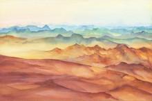 Mountain Landscape Peaks On Su...