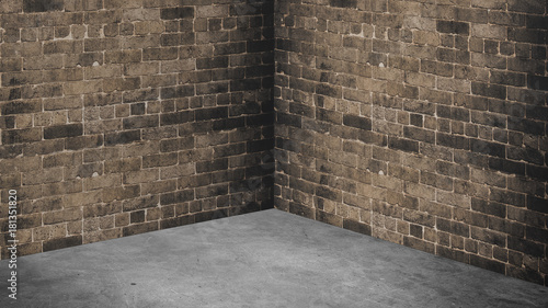 Empty Corner Room With Brown Brick Wall And Grey Concrete Floor