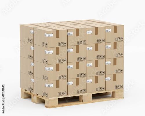 Europalette mit Kartons - in Lagen geschichtet - Eurostandard mit Etiketten - vo Fototapeta