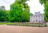 Bialy Dom - White House situated inside of the Lazienki Krolewskie - Lazienki Park in Warsaw, Poland