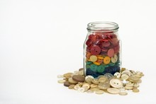 Colorful Buttons In A Jar