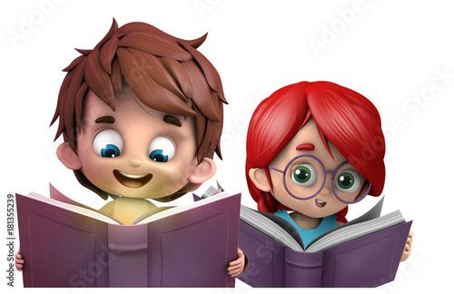 Photo niño y niña leyendo libros