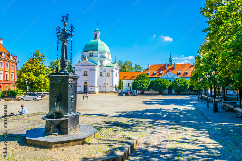 Obraz View of the kazimierz church in the polish city warsaw. fototapeta, plakat