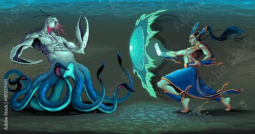 Staande foto Kinderkamer Fighting scene between elf and sea monster