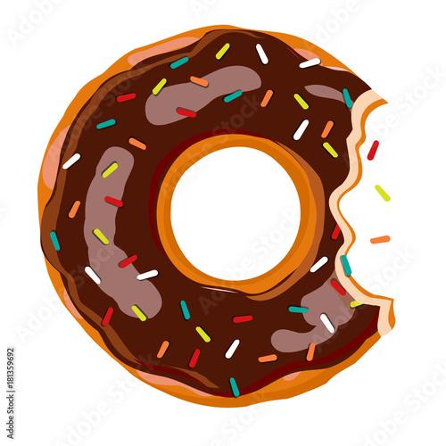 Sweet Bite Donut Donut With Chocolate Glaze Isolated On White