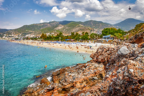 Paradise tropical resort beach in Alanya, Turkey Canvas Print