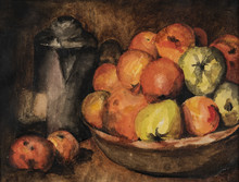 Watercolor Study Of Serge Aube...
