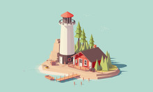 Vector Low Poly Lighthouse