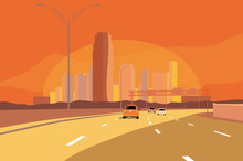 Cityscape Urban Landscape With Highway Or Interstate And Cars With Warn Colors Orange And Yellow Sunrise Or Sunset.