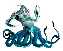 Sea Monster With Tentacles And Claws