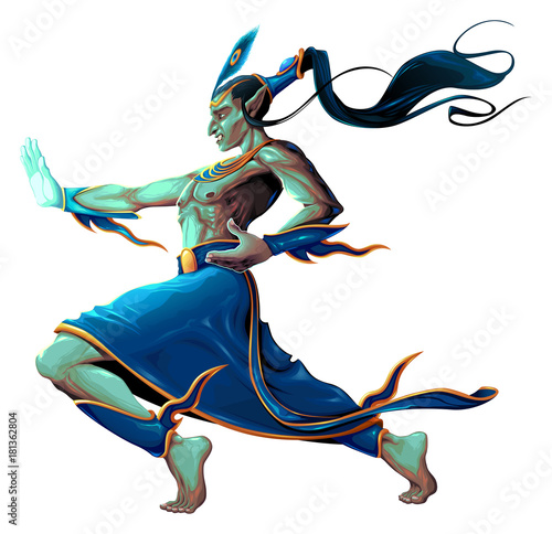 Staande foto Kinderkamer Elf is fighting with martial art pose