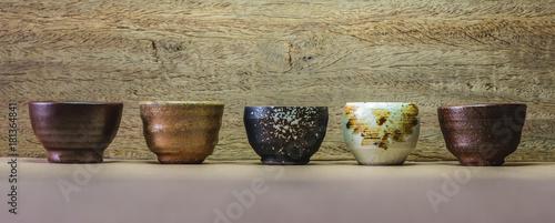 Photo many sake cup background