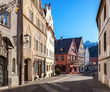 Old street in the historic center on a sunny morning, Fussen, Bavaria, Germany
