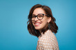 canvas print picture - Smiling woman posing in glasses