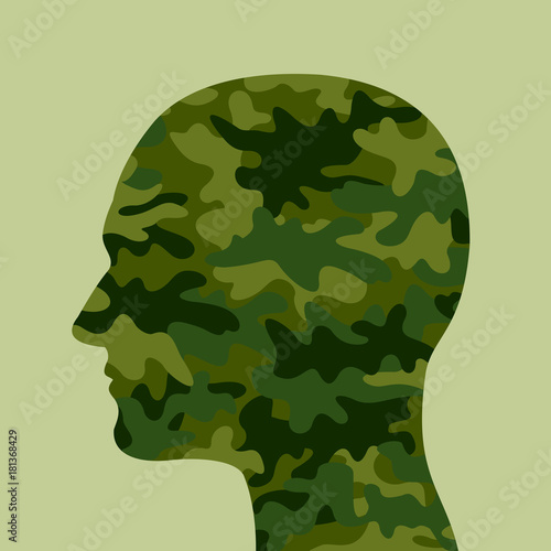 Plakat  Man with green and khaki camouflage head - combatant and soldier