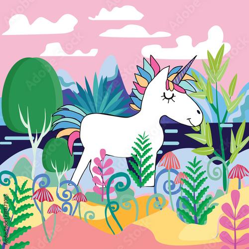 Plakat Piękna magiczna lasowa scena z Śliczną Magiczną jednorożec