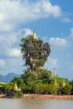Beautiful Buddhist Kyauk Kalap Pagoda In Hpa-An, Myanmar.