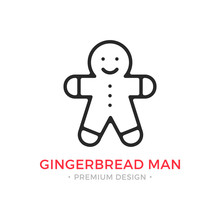 Gingerbread Man Line Icon. Chr...