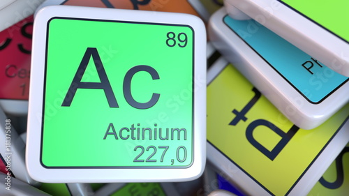 Photo Actinium Ac block on the pile of periodic table of the chemical elements blocks