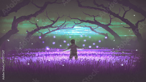 Poster Eggplant wonderful night scenery showing a boy standing in the garden of purple flowers with glowing insects, digital art style, illustration painting