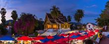 The Night Souvenir Market In Front Of National Museum Of Luang Prabang, Laos.