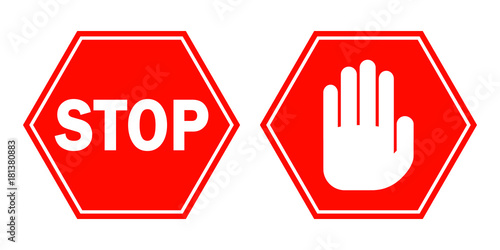Red STOP signs. Vector illustration.