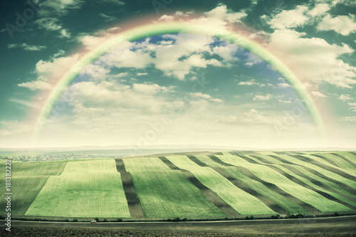 Staande foto Olijf Vintage Landscape with Fields and Rainbow