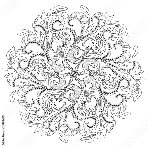 circular floral monochrome pattern with six motifs, for coloring book Canvas Print