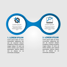 Infographics Circular Vector Banner Of 2 Steps. Vector Pattern Illustration Of Two Elements Of Balls, Bubbles For Business Presentations, Design, Education