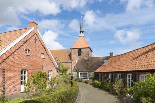 In de dag Noordzee Deutschland, Niedersachsen, Ostfriesland, Krummhörn, Warftendorf Rysum.