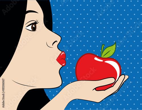 Fotografie, Obraz  schneewittchen küsst roten apfel