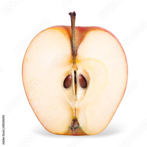 Fotografía  Closeup of red apple half isolated