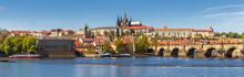 Prague Panorama City Skyline With Old Town, Prague Castle, Charles Bridge, St. Vitus Cathedral. Prague, Czech Republic