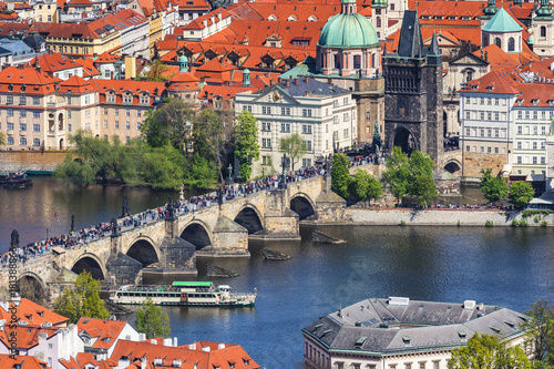Skyline view panorama of Charles bridge (Karluv Most) with Old Town in Prague Poster
