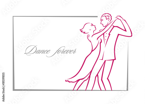 Graphic color linear drawing or logo, where a passionate couple in ...