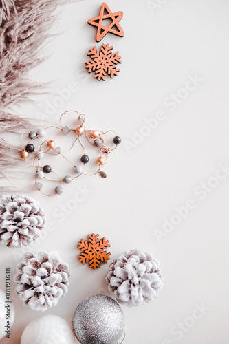 woman christmas background on white frosty pine cones silver