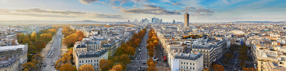 Fototapeta Aerial panoramic cityscape view of Paris, France