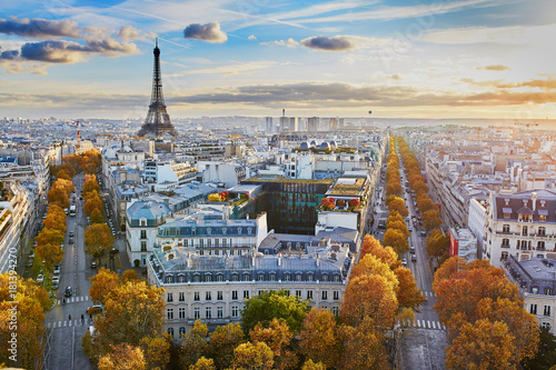 Plakat Powietrzny panoramiczny pejzaż miejski widok Paryż, Francja
