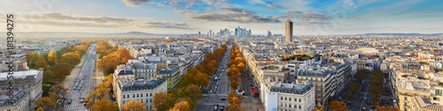 Poster Paris Aerial panoramic cityscape view of Paris, France