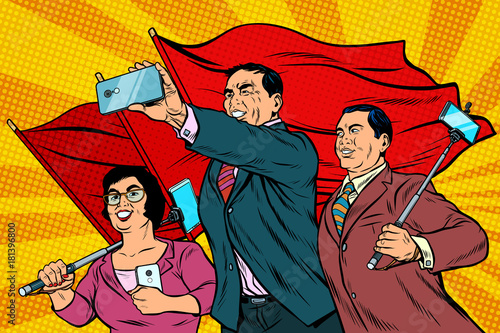 Photo Chinese businessmen with smartphones and flags, poster socialist