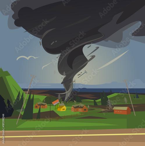 Terrible tornado spun houses. Vector cartoon illustration Wallpaper Mural