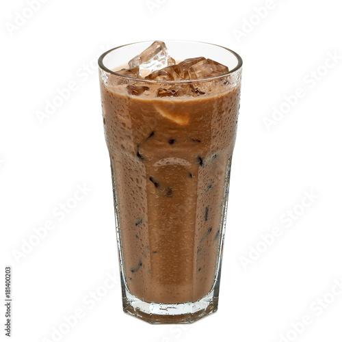 Plakat Lukrowa kawa lub mokka w szkle odizolowywającym na białym tle wliczając ścinek ścieżki