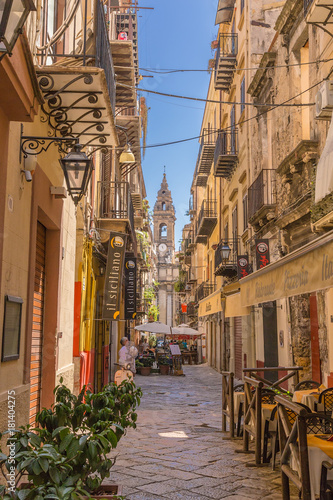 Palermo, Italy. View of one of the most picturesque streets of the old town