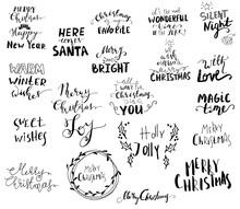 Set Of Christmas Lettering Handwritten